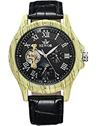 SEWOR reloj para hombre Tourbillon automático Shallow grano de madera caso fase de la luna negro Dial mecánico reloj de pulsera de piel