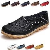 Hishoes Mujer Mocasines de Cuero Zapatos Planos de Deslizamiento Mocasines de Conducción Mocasín Zapatillas Antideslizante Barco Zapatos para Mujer