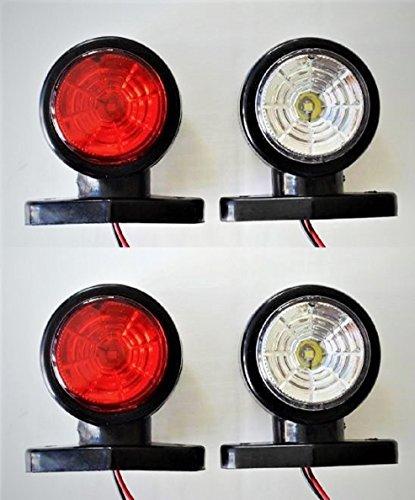 Für Led-lichter Lkws Rote (4x LED 24V Seite Umrissleuchte rot-weis Lichter mit 2LEDs für LKW Anhänger Chassis Wohnwagen Wohnmobil)