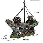 Lifelike Resin Pirate Ship Sailing Boat Sunk Corsair Ship Shipwreck for Aquarium Fish Tank Decoration 8