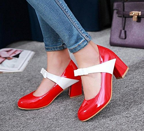 SHINIK Frauen Closed-Toe Pumps Fliege High Heels Sandalen Gericht Schuhe Indie Pops Mary Jane Schuhe Red