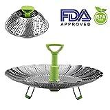 Dünsteinsatz Edelstahl Kitchen Dämpfeinsatz für Koch-Töpfe von 14cm - 23cm stufenlos verstellbarer Dampfgarer zum Gemüsedämpfer BPA-frei rostfrei geeignet für Baby-Nahrung (14cm - 23cm)
