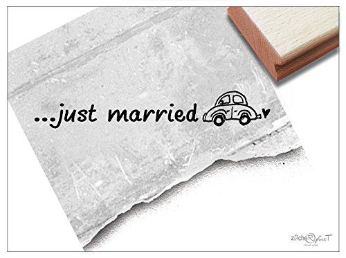 (Stempel - Hochzeitsstempel .JUST MARRIED mit Auto - Textstempel Schriftstempel für Ihre Hochzeit Einladungen Servietten Deko - von zAcheR-fineT)