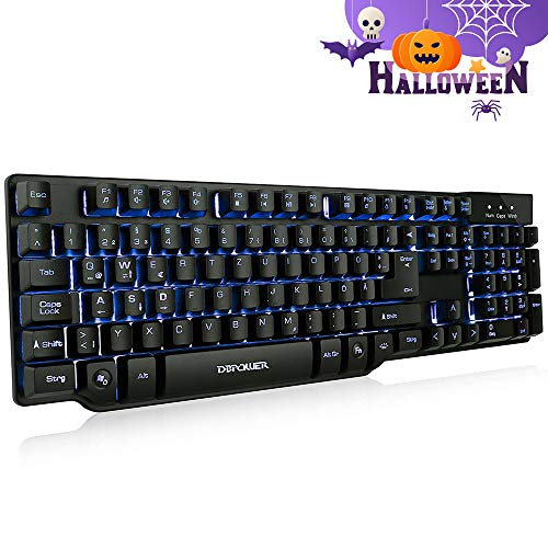 DBPOWER Gaming Tastatur USB, LED beleuchtete Tastatur,