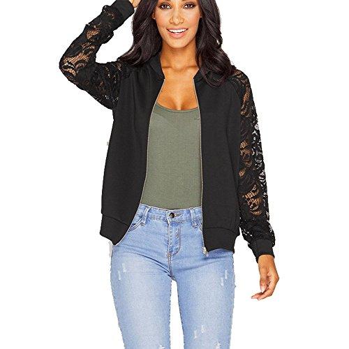 DAY8 Veste Femme Grande Taille Pas Cher Manteau Femme Hiver Chic Blouson Moto Femme Automne Vêtement Dentelle Cardigan Jacket Sweat-Shirt Tops Haut Outwear Zipper Mode Casual Printemps (XL, Noir)
