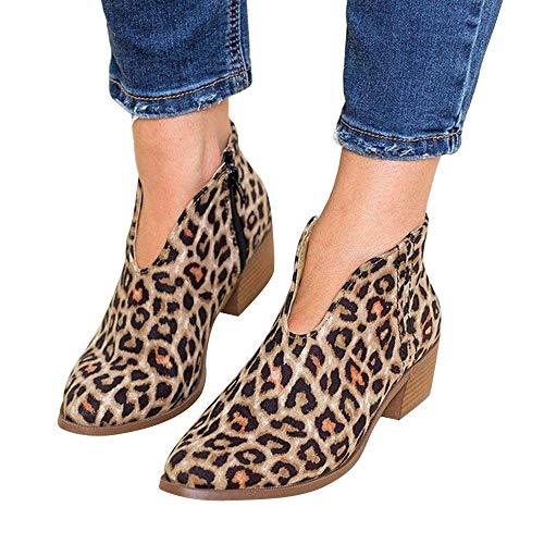 TianWlio Stiefel Frauen Herbst Winter Schuhe Stiefeletten Boots Retro Quadratische Ferse Einfarbig Wildleder Stiefel Reißverschluss Stiefel Runde Zehe Schuhe Braun 35
