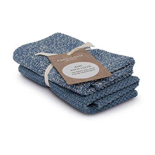 aspegren le Danemark - Manique Lot de 2 Vaisselle tricotée - Blend Blue, Bleu