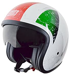59-60 CM MOTORBIKE HELMET RS-V06 OPEN FACE UNION JACK BRITISH FLAG TARGET PATRIOTIC NEW DESIGN SUMMER HELMET WHITE L