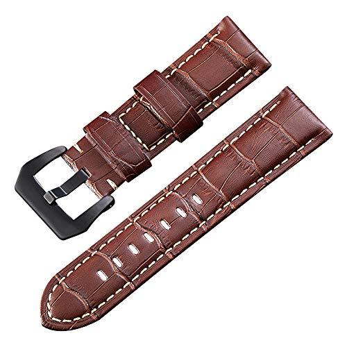 Kalbsleder Uhrenarmbänder 24mm für Männer Ersatz braunes Armband Herren hohe Qualität Band (Für Männer Bertucci-uhren)
