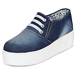 1 WALK MAPPLE COLLECTION ORIGINAL COMFORTABLE STYLISH WOMEN SHOES /SNEAKERS/COLLEGE WEAR/2018 LATEST COLLECTION/PARTY WEAR/CASUAL WEAR/WEEDING WEAR-Blue-K214A-36