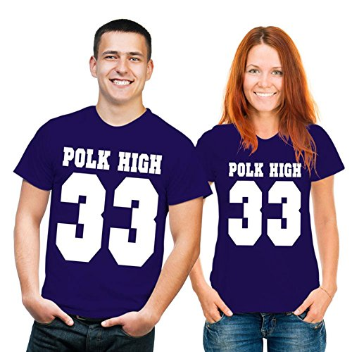T-Shirt con scritta: Polk High 33 S, Blu