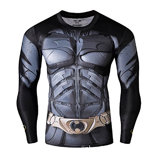 Superheld-Kostüm für Fitnessstudio/Radsport, Compression Baselayer T-Shirt mit kurzen Armen für Herren Gr. X-Large, Batman Long Sleeve (Superman T Shirt Kostüm)
