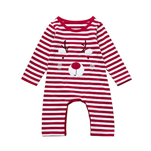 Baby Kapuzenpulli Honestyi Neugeborenes Kind Baby Deer Weihnachten Jungen Mädchen Outfits Kleidung Strampler Overall (Rot,70 80 90 100)