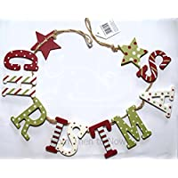 Vintage Country Red , Green and White Christmas Garland / Bunting by from Then to Now