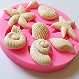 Fablcrew 1 Stück Kuchenform Silikonform Muscheln, Seesterne Muster Schokoladenform Backwerkzeuge Köstlicher Nachtisch