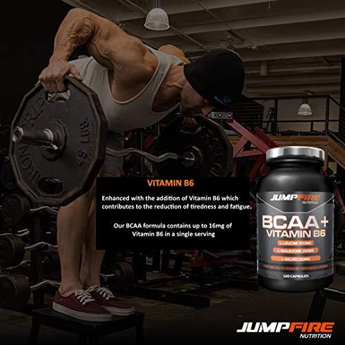 51X0bJAE 5L. SS500  - Jumpfire Nutrition BCAA Tablets + Vitamin B6, Amino Acid, Men & Women, Intra-Workout, Pre Workout, Leucine Isoleucine Valine, 2:1:1 Optimum Nutrition Ratio