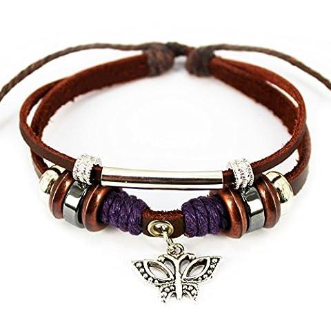 Plus de Fun Charm papillon Argenté 2rangs Pendentif Cuir Bracelet Bracelet Longueur réglable