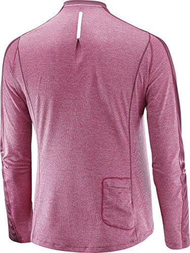 Salomon T-shirt sportiva da donna a maniche lunghe Agile LS, Mix materiale sintetico Viola/Rosso Abete