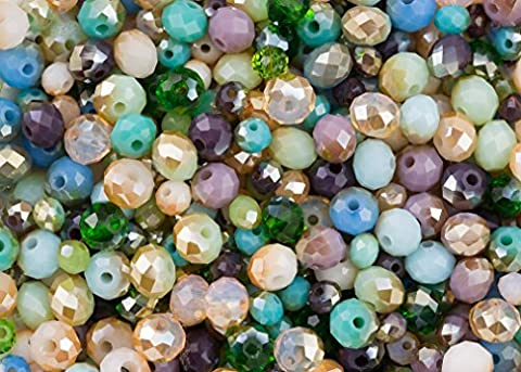 400 pieces Sea Dream: turquoise, blue, green, purple and pink rondelle glass crystal mixed bead set for jewellery