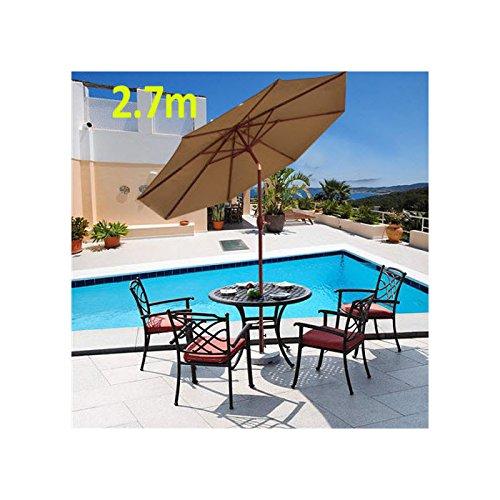 2.7m Large Aluminium Round Garden Parasol Umbrella Sun Shade Canopy Crank Tilt. (Coffee)