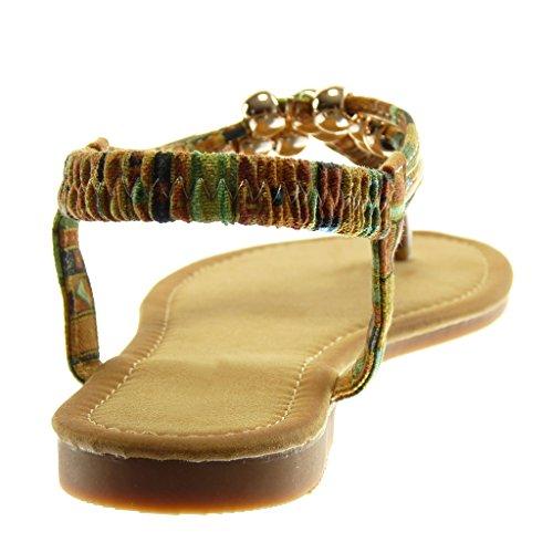 Angkorly Scarpe Moda Sandali Infradito Slip-On Cinturino con Cinturino Alla Caviglia Donna Perla Fantasia D'Oro Tacco a Blocco 1.5 cm Cammello
