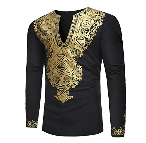 Luckycat Herren Herbst Winter Luxus afrikanischen Gold Print Langarm Dashiki Top Bluse Mode 2018