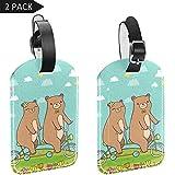 Etichette identificative per bagagli in pelle PU per bagagli valigia con copertura posteriore per la privacy, confezione da 2 pezzi, coppia di orsi in bicicletta tandem in periferia