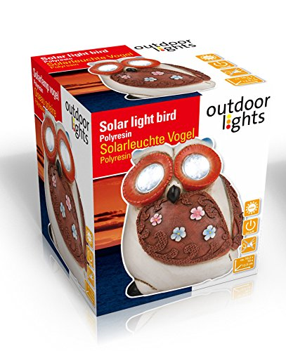 Outdoor Lights 56552 Oiseau Énergie Solaire Céramique Multicolore 10,5 x 10 x 12,5 cm