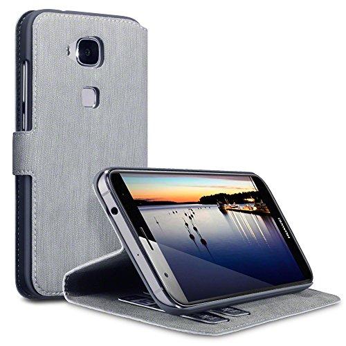 Huawei G8 / GX8 Cover, Terrapin Leder Tasche Case Hülle im Bookstyle mit Standfunktion Kartenfächer für Huawei G8 Hülle Grau