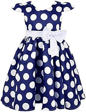 Okidso Polka Dots Skirt Cap Maniche Principessa Dress Abiti da Sposa con Bowknots per le Parti, di Nozze