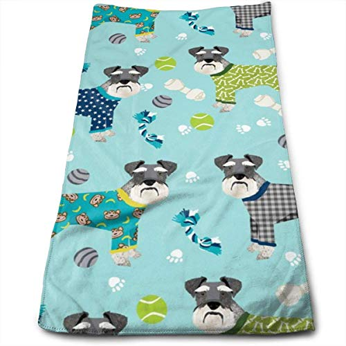 Schnauzers In Jammies Cute Dogs In Pajamas Pyjamas Hand Towels Dishcloth Floral Linen Hand Towels Super Soft Extra Absorbent for Bath,Spa and Gym 12