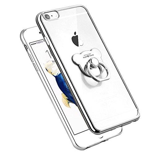 Etsue Glitzer Ring hülle für iPhone 5S/iPhone SE mit [360 Grad Niedlich Bär Ring Fingerhalterung Ständer] Glänzend Silikon Weiche Durchsichtig Handytasche, Glitzer Bling Glitter Überzug Silber Rahmen  Bär Ring Silber