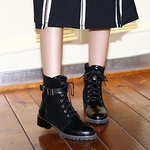 COOLCEPT Damen Mode-Event Niedrige Schnürung Kurzschaft Stiefel Zipper Sizes Schwarz
