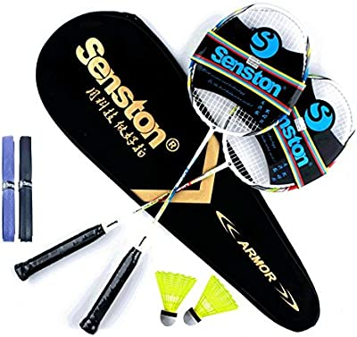 Senston Dos piezas Eje del grafito Raqueta de bádminton, raqueta de bádminton fijados, y bádminton Bolsa, juego de 2