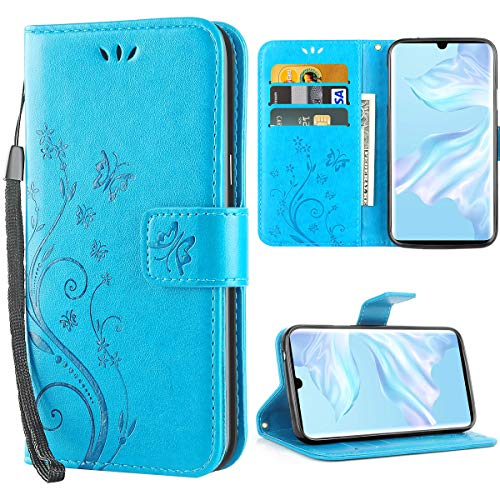 Huawei P30 Pro hülle,Solide Butterfly PU Ledercase Tasche Schutzhülle Huawei P30 Pro flipcase Magnetverschluss Handyhülle im Wallet Bookstyle - Blau -