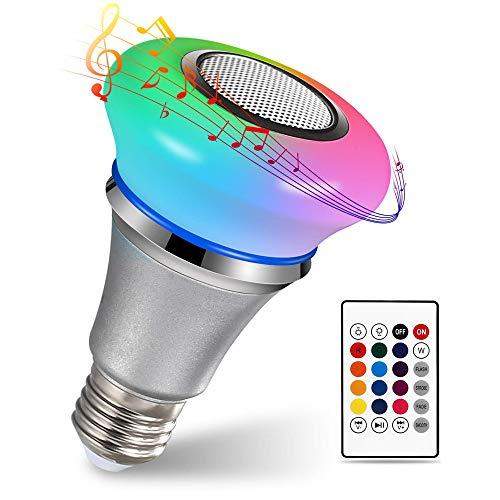 DYHQQ Bluetooth-Glühbirnenlautsprecher, 6 W, E27, RGB-Weiß, Smart-LED-Lampe mit drahtlosem Stereo-Audio und Fernbedienung mit 24 Tasten - - Taste Stereo