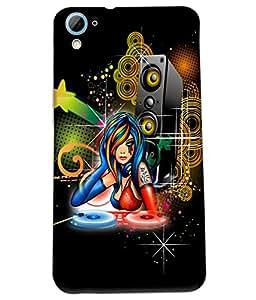Fuson DJ Music Girl Back Case Cover for HTC DESIRE 826 - D4070
