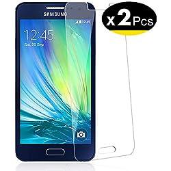NEW'C Verre Trempé pour Samsung Galaxy A3 2015 (SM-A300F),[Pack de 2] Film Protection écran - Anti Rayures - sans Bulles d'air -Ultra Résistant (0,33mm HD Ultra Transparent) Dureté 9H Glass