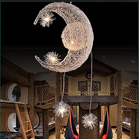 Wei-d LED Nest Lights Stars Moon Chandeliers Creative Simple Fashion Bedroom Lights Children 'S Restaurant Crystal Hanging Lamps Pendant Light ,