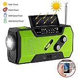 Handkurbel-Radio, N33WB-Mehrzweck-Solarbetriebene Funkgeräte mit großer Kapazität und Taschenlampe für Outdoor-Sport-Notfallwerkzeug, tragbar, grün