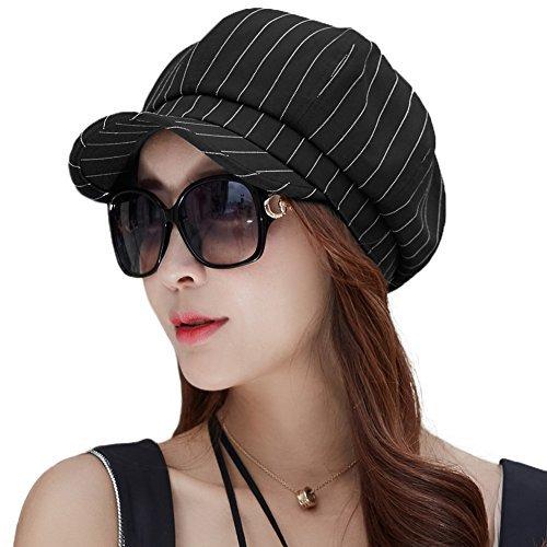 SIGGI Damen Schirmmütze Cabbie Maler Mütze 8-Panel 56-59CM schwarz