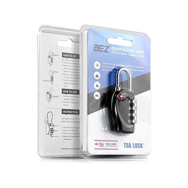 Cadenas TSA - Combinaison à 4 chiffres [Zinc Alloy]- Meilleur Cadenas agréé par TSA pour un voyage sécurisé - Alarme de verrouillage, Ultra-résistant, cadenas de valise TSA de toutes les couleurs - Verrou de protection sûr - Noir
