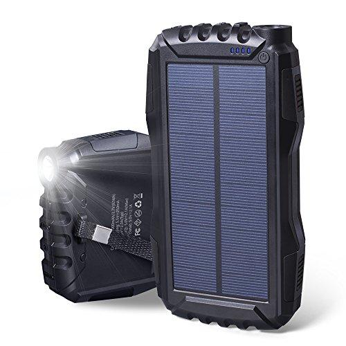 Descripción: Elzle Cargador Solar de Gran Capacidad 25000 mAh 1. Capacidad ultra alta: suficiente energía para mantener tus dispositivos en marcha y no hay necesidad de preocuparse por apagado durante días. 2. Puertos de carga de salida dual: el carg...