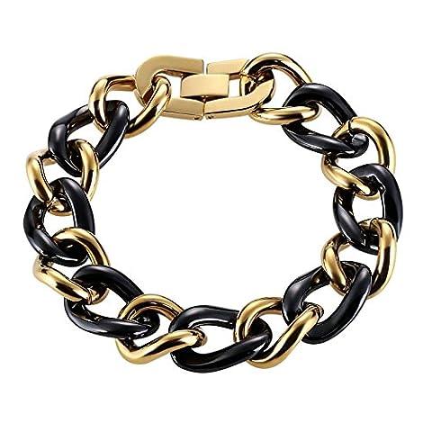 Daesar Schmuck Herren Armband Edelstahl Handgelenk Armreif Curb Circle Schwarz Gold 20.5cm