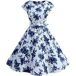 Dressystar Aupuls AUP1956 Vestido De Retro Vintage 50s con Manga Corta Y Cinturón para La Baile Fiesta Azul Blanco XXL
