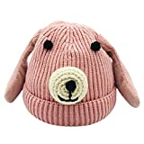 Tonsee Baby Mütze Beanie, Winter Jungen Mädchen Hut Tiere Design Soft Wollene Hüte Kinder Cap Unisex Einfabrig und Streifen (Rosa2)