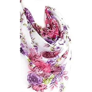 Elegant Schal Für Frauen Weiche Baumwolle Große Quadratische Blumendruck Kopftücher Halstücher 96 x 96 cm.