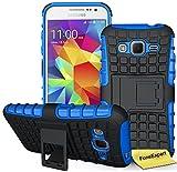Samsung Galaxy Core Prime Funda, FoneExpert® Heavy Duty silicona híbrida con soporte Cáscara de Cubierta Protectora de Doble Capa Funda Caso para Samsung Galaxy Core Prime SM-G360 G360F + Protector Pantalla (Azul)
