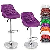 DWD-Company 2er Set Barhocker Barstuhl 10 Farben wählbar, 360° frei drehbar, Sitzhöhenverstellung 60-80cm (lila)