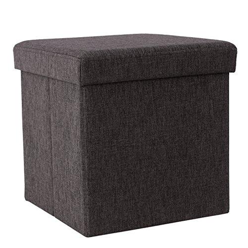 SONGMICS Faltbarer Fußbank Aufbewahrungsbox belastbar bis 300 kg, leinen, kaffeefarbe, 38 x 38 x 38 cm LSF27K